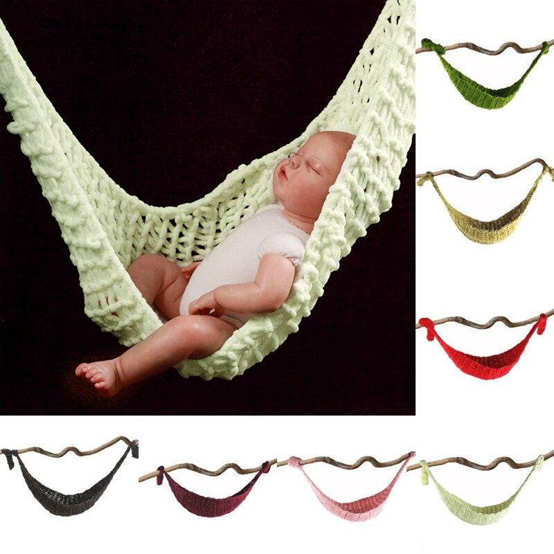 Photographic Studio Baby's Photo Props Wool Handmade Knitted Tuck Net Hammock For Baby