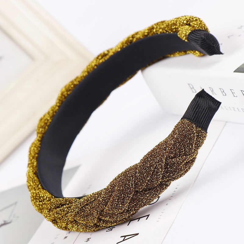 Топ блестящий серебряный цвет повязка для волос женская Ткань бархатная повязка на голову твист аксессуары для волос в виде тюрбана фиксированная широкая лента для волос оплетка головной убор