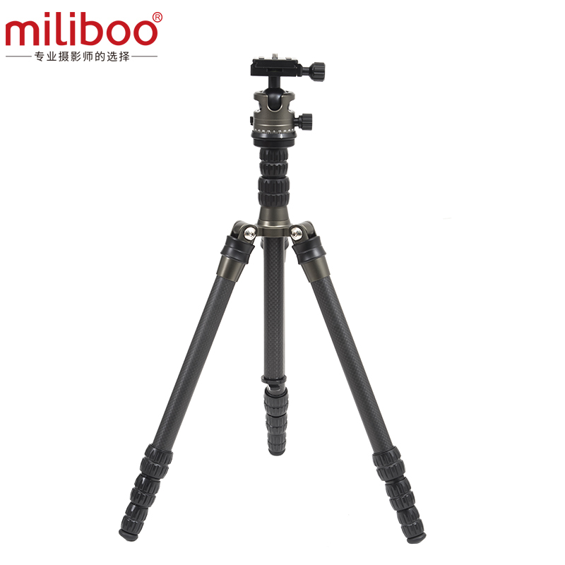 miliboo MEB Portable Carbon Fiber Light Weight Travel Tripd 52/135 cm Come with Quick Release Plate Ball Head for Camera Canon