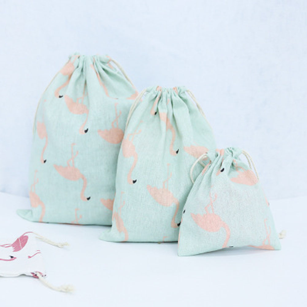 Small Fresh Handmade Drawstring Bag Travel Drawstring Pouch Dry Cotton Linen Small Cloth Bag S-L 3Sizes