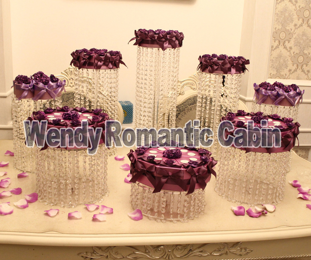 8pcs Crystal Cake Stand Wedding Cake Display Transparent Cupcake