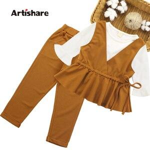 Image 1 - Girls Clothes Set Vest + Solid Shirt + Pants 3 PCS Girl School Clothes Autumn Winter Teenage Kids Set 6 8 10 12 13 14 Year