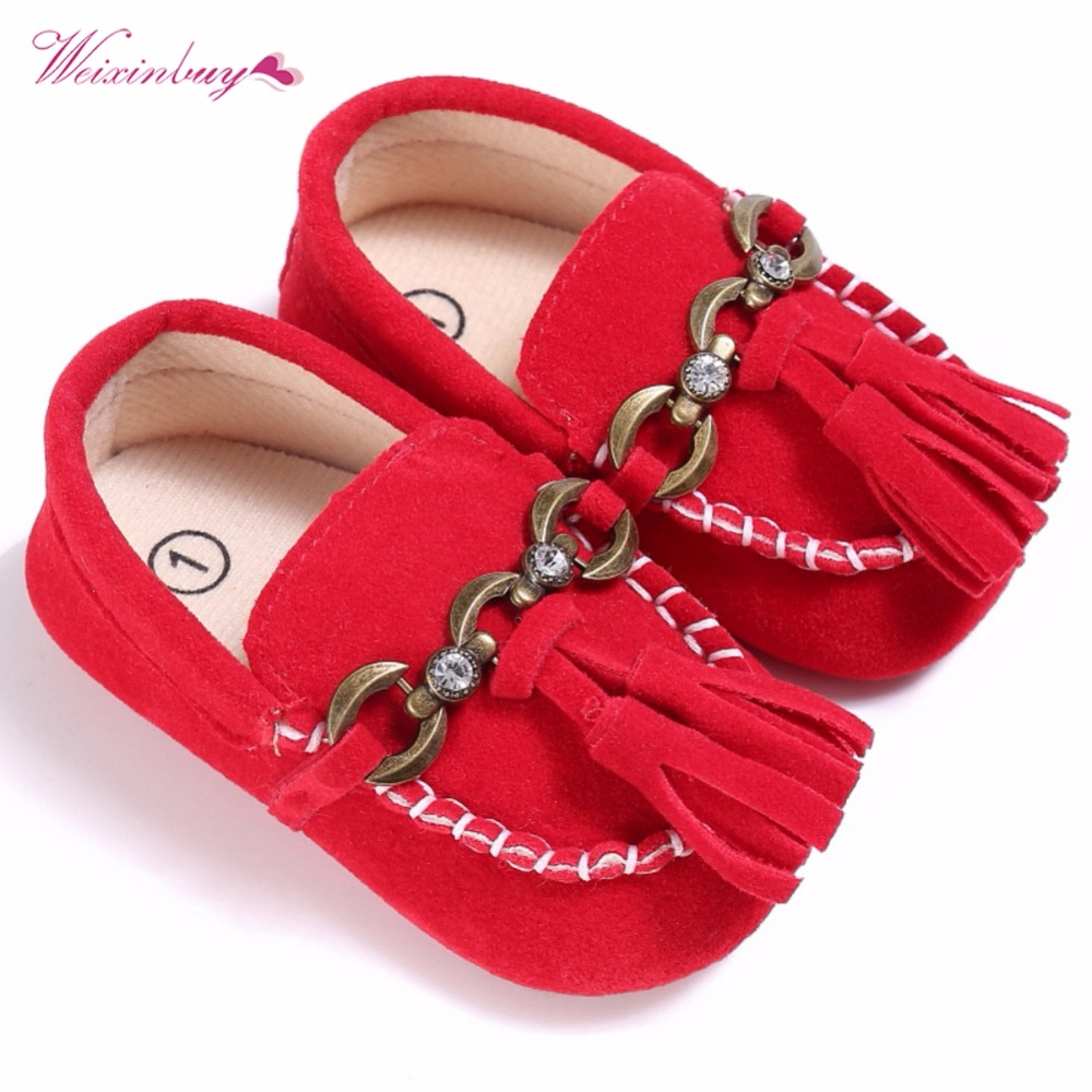 Spring Baby Fashion Girls Toddler Infant Solid Color Tassel Chic Chain Shallow Anti-slip Crib Shoes Prewalker