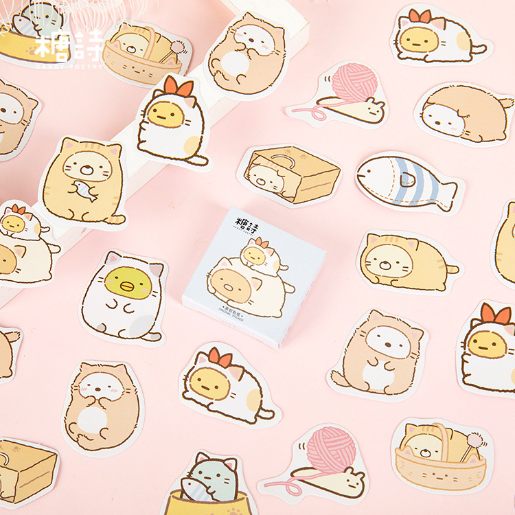 45pcs/pack Cats Fishes Stickers Set Scrapbooking Stickers For Journal Planner Diy Crafts Scrapbooking Diary