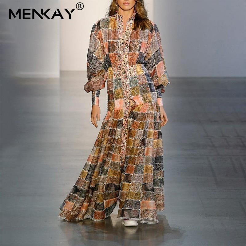 [MENKAY] Vintage imprimer femmes robe Stand lanterne manches taille haute bouton Hit couleur plage robes femme mode 2019 Sping nouveau