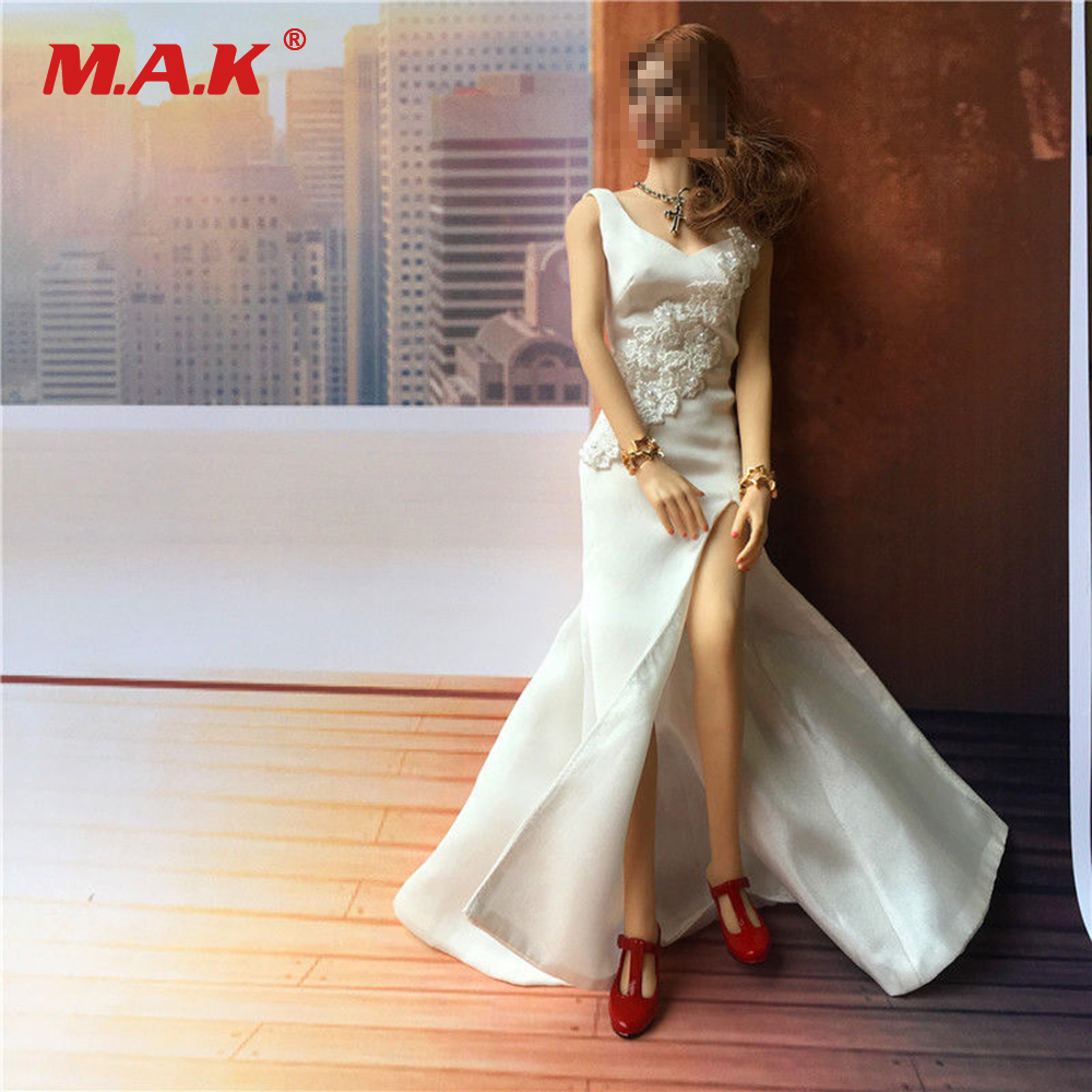 1:6 Scale Female Clothes Long Skirt White Dress Clothes Accessory Model for 12'' Gril Body Figure 1 6 purple female sexy leather skirt dress suit clothing model toys for 12 female action figures body accessory