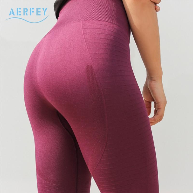 Aerfey 2018 New Women High Waist Thick Autumn Winter Yoga Pants Slim Hips Elastic Tights Running Gym Leggings Solid Color