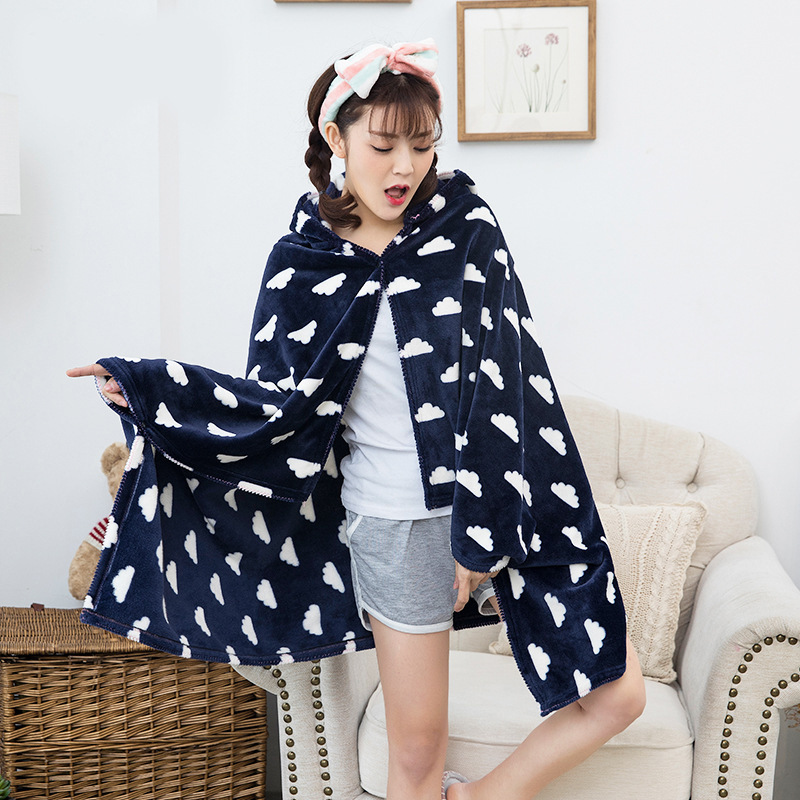 Winter Thick Comfy Hooded Plaid Blanket Sweatshirt Unicorn Warm Coats TV Hoodie Blankets Fleece Blanket Adult for Sofa Beds Kids 12