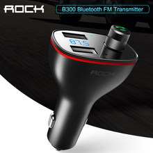 ROCK Dual USB Autolader B300 Bluetooth 4.2 Fm-zender Digitale 3.4A Intelligente Distributie Stroom Fast Quick Opladen(China)