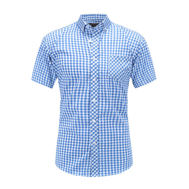 Dioufond Men Vintage Red Plaid Short Shirts Casual Cotton Basic Male Tops Pocket Work Wear Summer Mens Fashion Clothing 2018 3XL 1