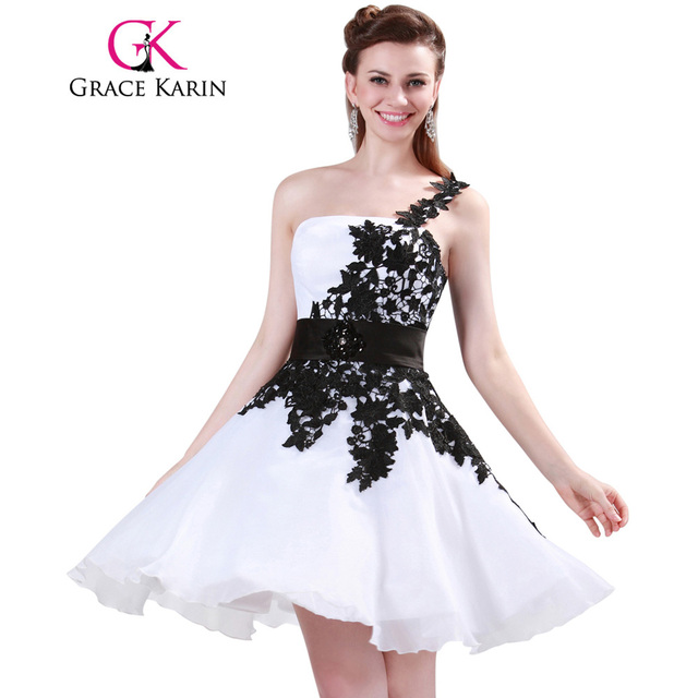 961f4ab123e Grace Karin White and Black One Shoulder Lace Short Prom Dresses Ball Gown  Knee Length School Party Dress Cute GK4288