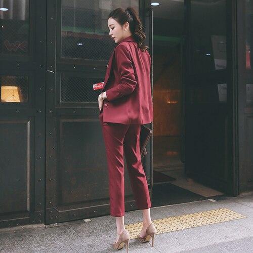Office Rouge Femmes Petit Élégant Temperamentvocational Femme Vin Mode Lady Costume Nouveau qAw0ZZ