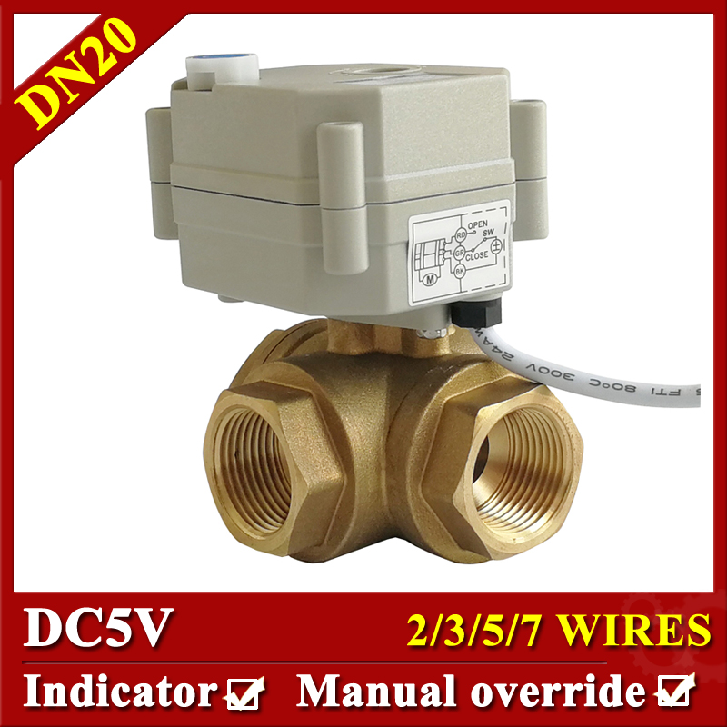 TF20-BH3-B Brass 3/4'' 3-Way Electric Actuator Valve With Manual Override DC5V 2/3/5/7 Wires 3 Way Brass DN20 Motorized Valve 3386519 3