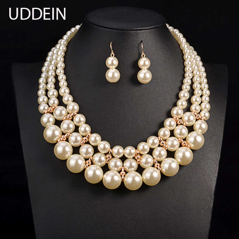 UDDEIN Charm Necklace & Pendant Three layer Pearl Jewelry Accessory Vintage Statement Necklace Wedding Bridal Jewelry Sets