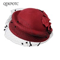 QDKPOTC Bride Elegant Wool Beret Hat Gauze Bow Airline Stewardess Hat White Women's Fedora Caps Formal Lady Hat Royal Style