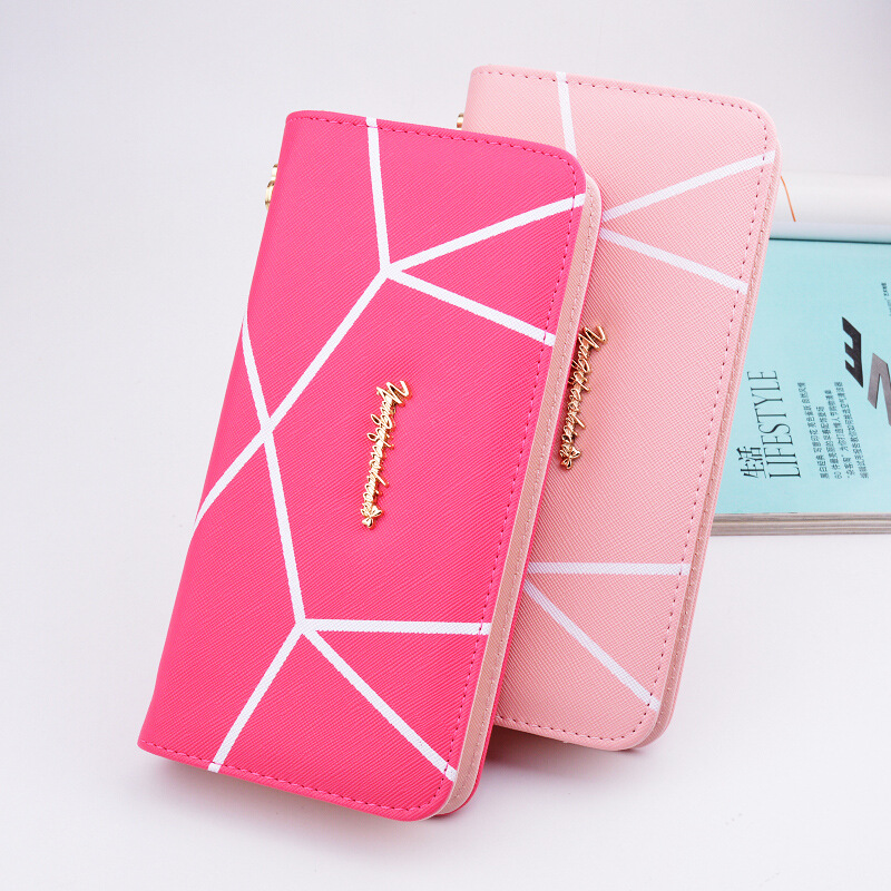 New Fashion PU Leather Women Wallets Vintage Plaid Long Wallet Card Holder Carteira Feminina Female Coin