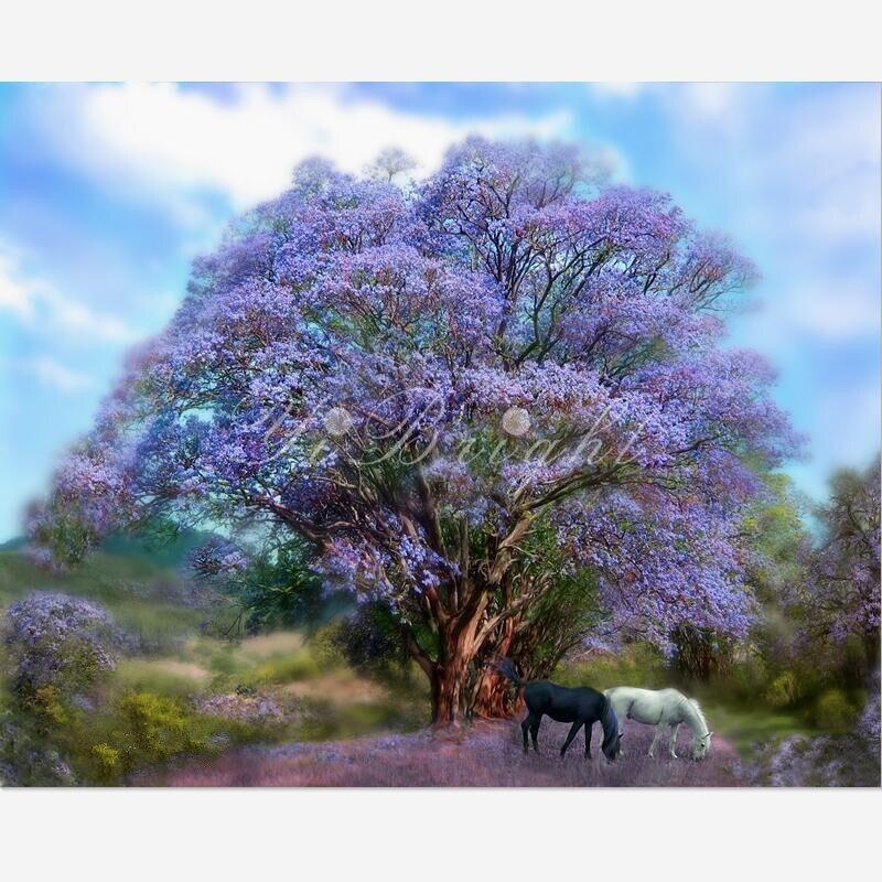 Diamante Ricamo Sotto Il Jacaranda_PWD albero paesaggio Pittura Diamante Gufo Punto Croce Bella Ricamo Decorazioni Per La Casa LRR