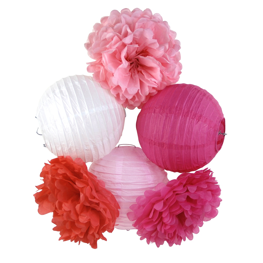 coralpinkwhite party decoration set paper crafts paper lanternpom pom wedding baby shower girl party nursery decoration