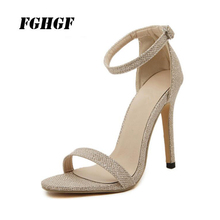 FGHGF High Heeled Sandals Female Sex Party Reception Quality Noble Buckle Fashion Thin Heel