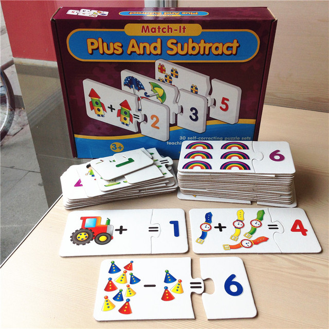 Baby Toys Counting Mathematics learning cards paper jigsaw puzzles for  children brain games toys kids early