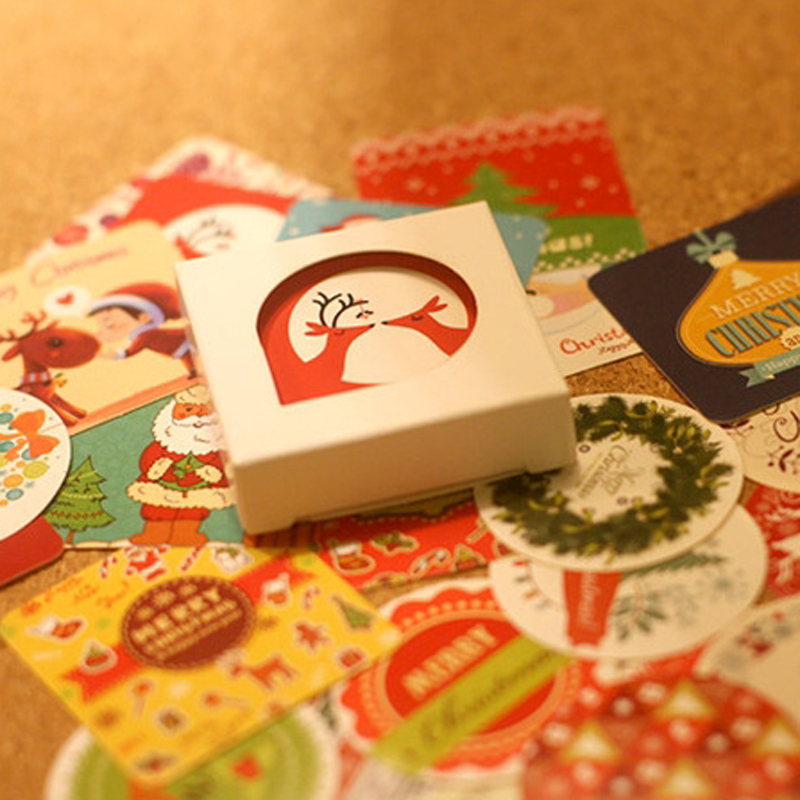 38 pcs/box Merry Christmas mini paper sticker decoration DIY diary scrapbooking seal sticker kawaii stationery