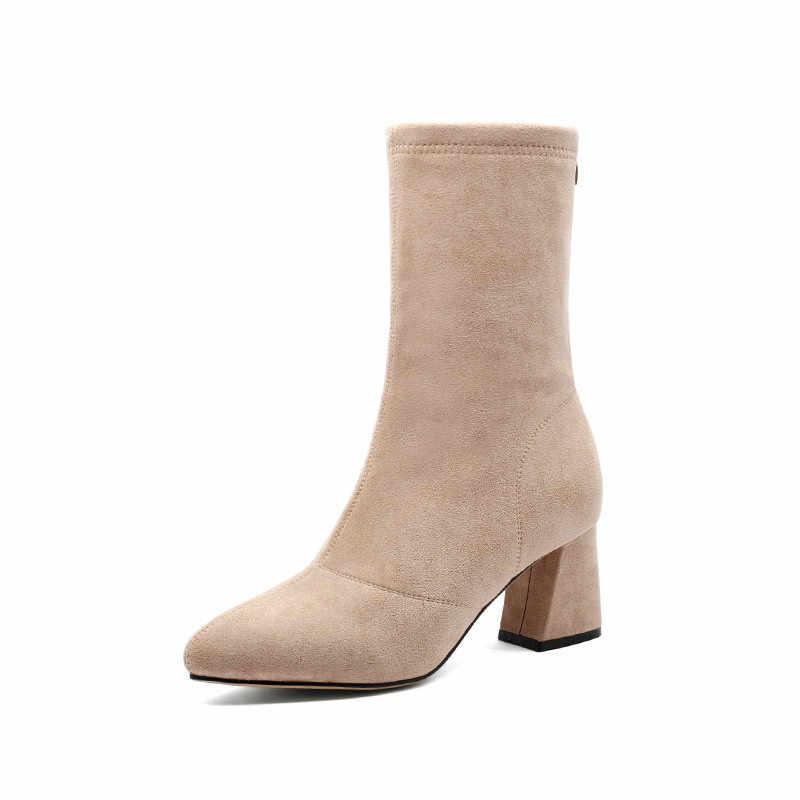 PINSEN 2020 moda kış kadın çizmeler yüksek kaliteli rahat ayak bileği kar botları kadın sıcak tutmak klasik topuk Botas Mujer