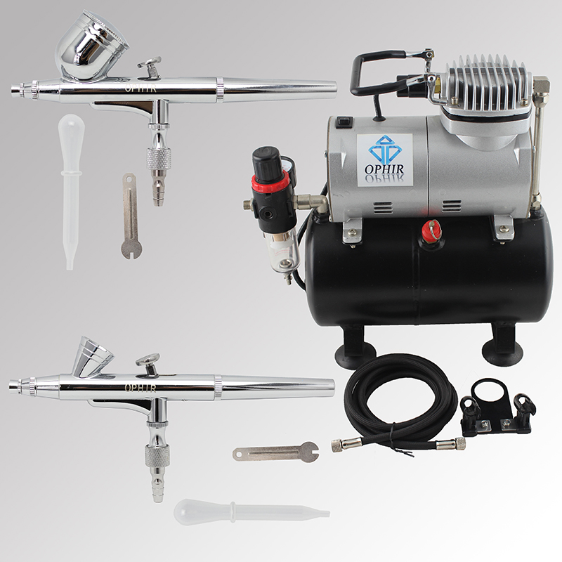 OPHIR 2-Dual Action Airbrush Kit with Air Tank Compressor for Nail Art Makeup Cosmetic Body Paint Air Brush Gun_AC090+004A+073 ophir airbrush kit with air compressor dual action airbrush set for body paint cake decorating nail art air brush ac003h 004 011
