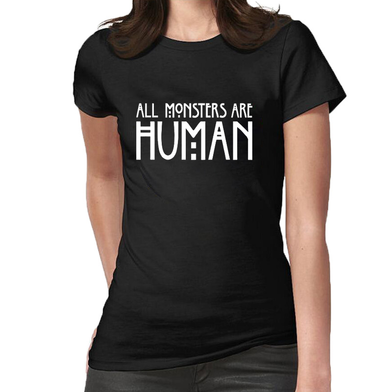 All monsters are human Letter Print Funny T Shirts Fashion Summer Cotton T-Shirt Casual Short Sleeve Women Tee Tops
