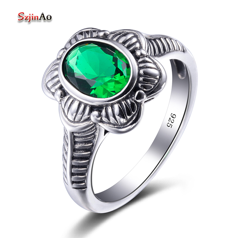 Szjinao Flower Ring Manufacturer 925 Sterling Silver Jewelry Bridal Rings Bohemia Green Emerald Vintage Women GiftSzjinao Flower Ring Manufacturer 925 Sterling Silver Jewelry Bridal Rings Bohemia Green Emerald Vintage Women Gift
