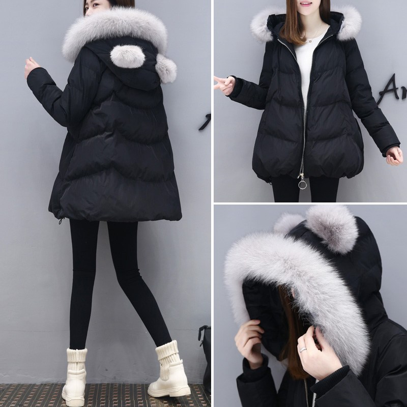 2017 new winter A doll coat jacket in the long section of fox fur coat down all female Hooded women thick parkas 2017 winter new clothes to overcome the coat of women in the long reed rabbit hair fur fur coat fox raccoon fur collar
