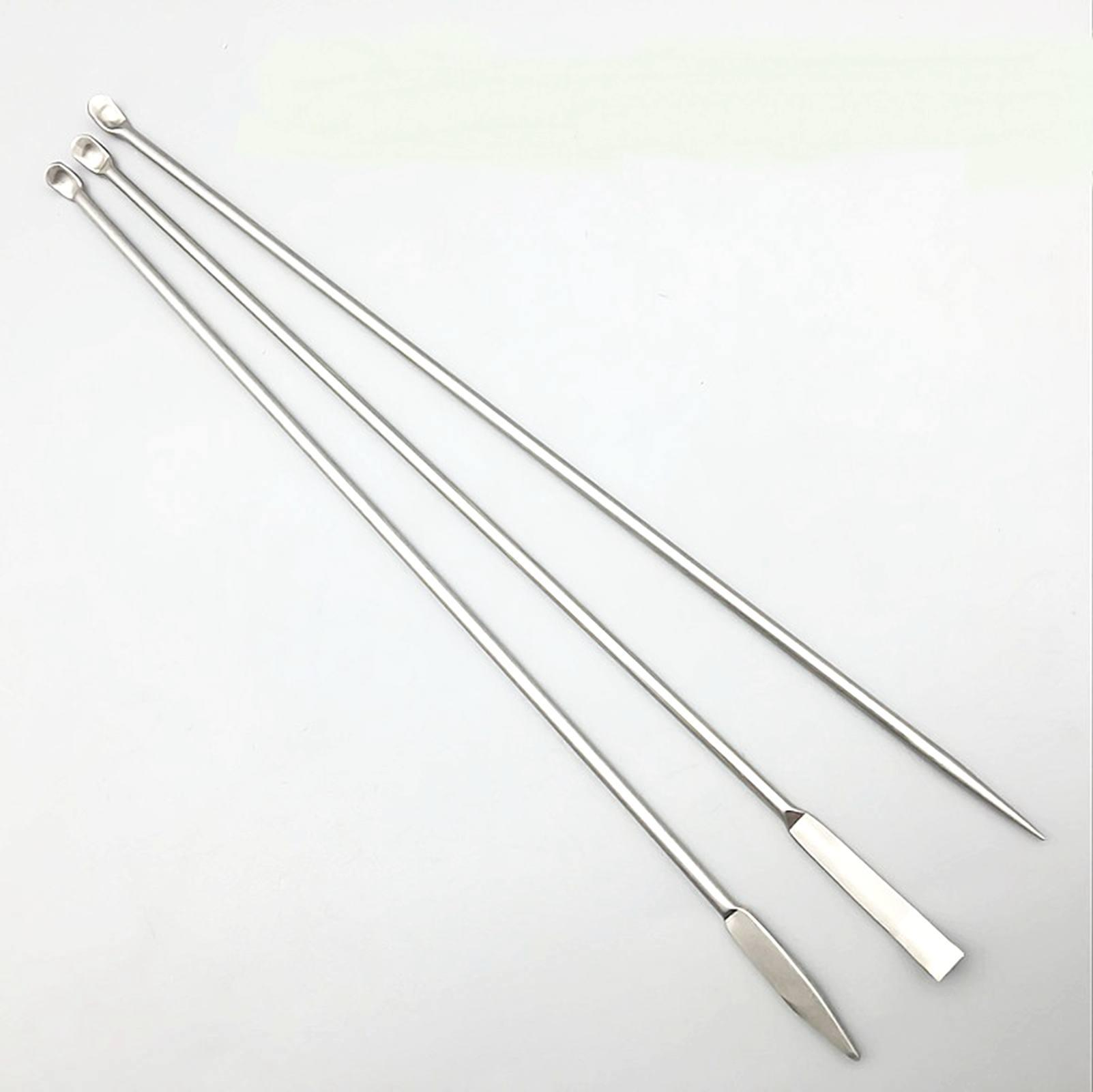 3pcs 22cm Stainless Steel Microscale Medicinal Spoon Experiment Pharmacy Lab Use
