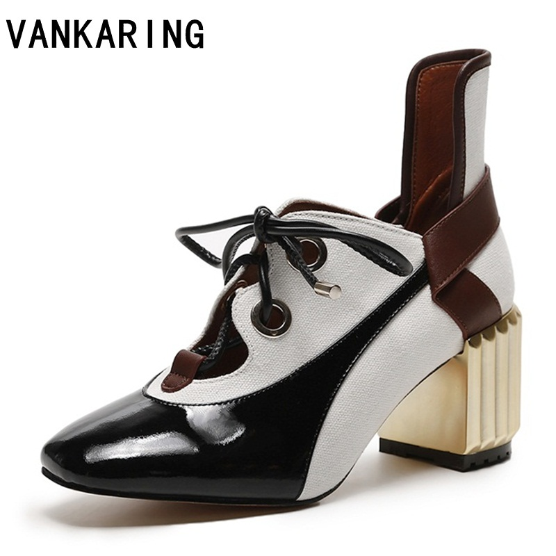 VANKARING new brand women shoes pumps sexy ladies square toe high heels ankle-strap autumn ankle boots woman dress casual shoes facndinll women pumps fashion middle heels pointed toe shoes woman square toe shoes ladies offcie dress casual date woman pumps