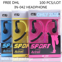 100pcs/lot wholesale IN-042 Earphones With Mic Ear Hook Earphones High Quality Sport Headphones For Apple with Retail package