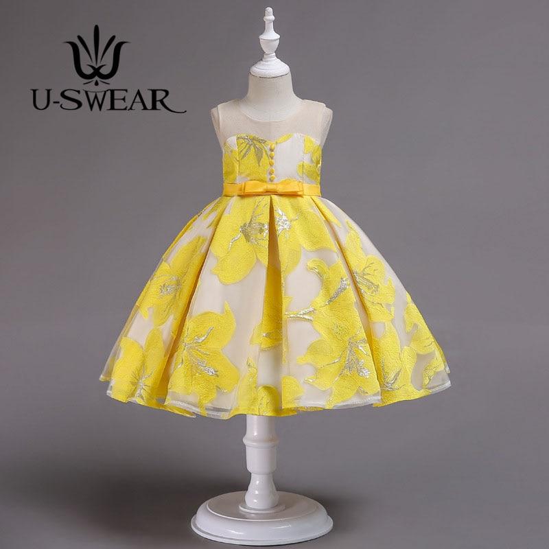 U-SWEAR 2019 New Arrival Kid   Flower     Dresses   O-neck Sleeveless   Flower   Pattern Button Bow Ball Gown   Flower     Girls     Dress   Vestidos