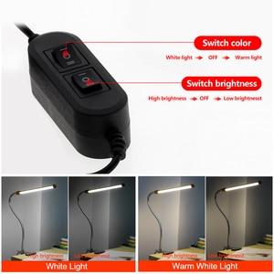 Image 2 - Clip Houder Usb Powered Led Bureaulamp Flexibele Zwanenhals Reading Tafellamp Dimbare Oogbescherming Nachtlampje Voor Studie Office