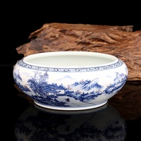 Qing Kangxi handpainted blue and white red glazed tea bowl mountain people tea washer antique porcelain all hand painted