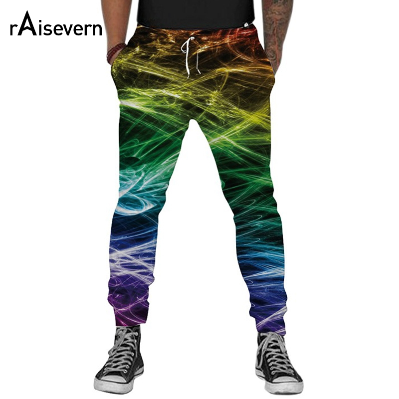 Raisevern New Fashion Men Harem Pants 3D Graphic P...