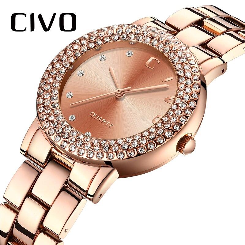 CIVO Watch Diamond Watch Women Top Luxury Brand Women Quartz Watch Waterproof Lady Wrist Watch Women Bracelet Clock Montre Femme