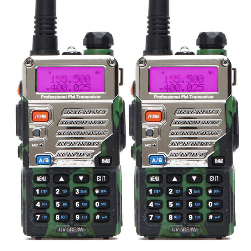 2 pcs BaoFeng UV-5RE 8 w Talkie Walkie 10 km Double Bande UV5R Deux Way Radio VOX lampe de Poche De Poche Longue gamme Portable Jambon CB Radio