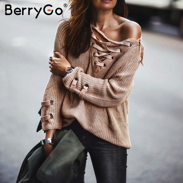 BerryGo Lace up knitted sweater Women Loose long sleeve white pullover  Casual ladies outwear 2018 Elastic 4401f3253