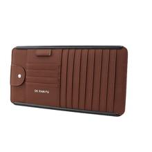 Tefanball Car Leather Multifunction CD Storage Box Sun Visor Case For DVD Glasses Folder Business Card Holder Bag