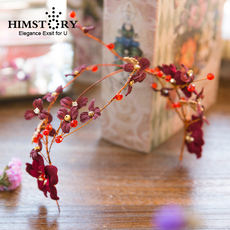 HIMSTORY Red Gold Bead Hairband Wine Red Flower Bride Headbands Burgundy Wedding Hair Vine Hairband Bridal Hair Accessories