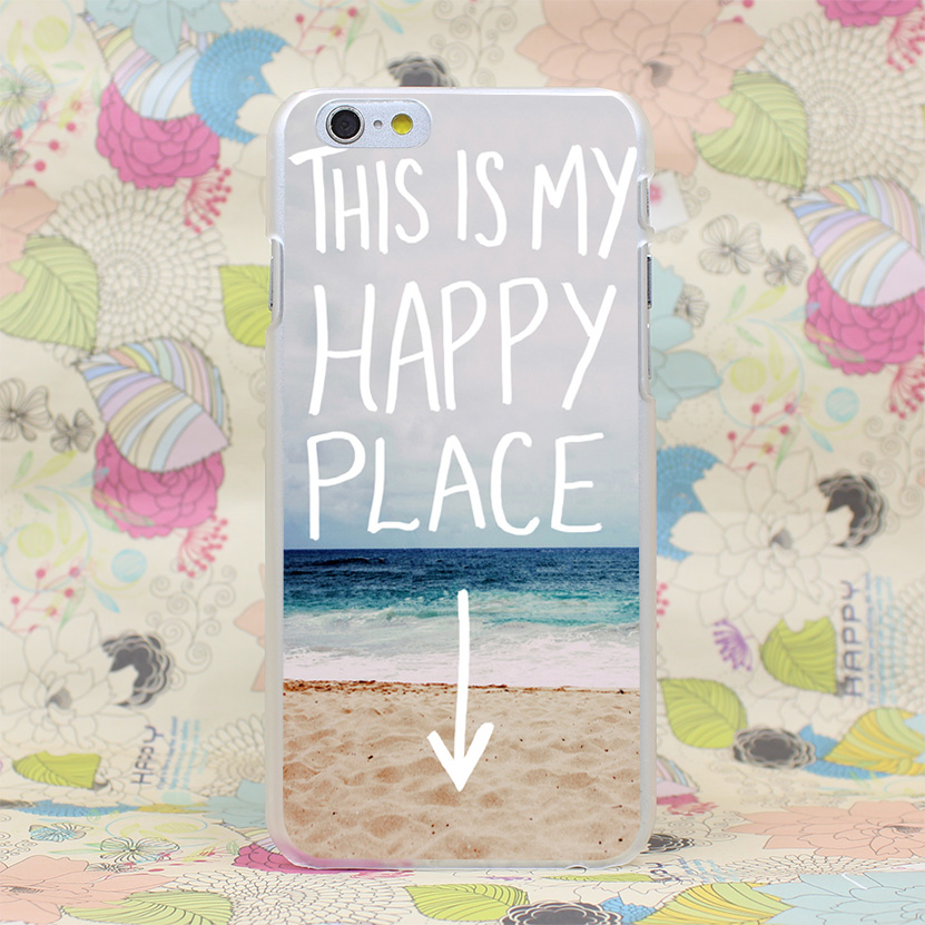 1132-GOP my happy place beach Hard Transparent Case Cover for iPhone 4 4s 5 5s SE 5C 6 6s Plus 7 7 Plus