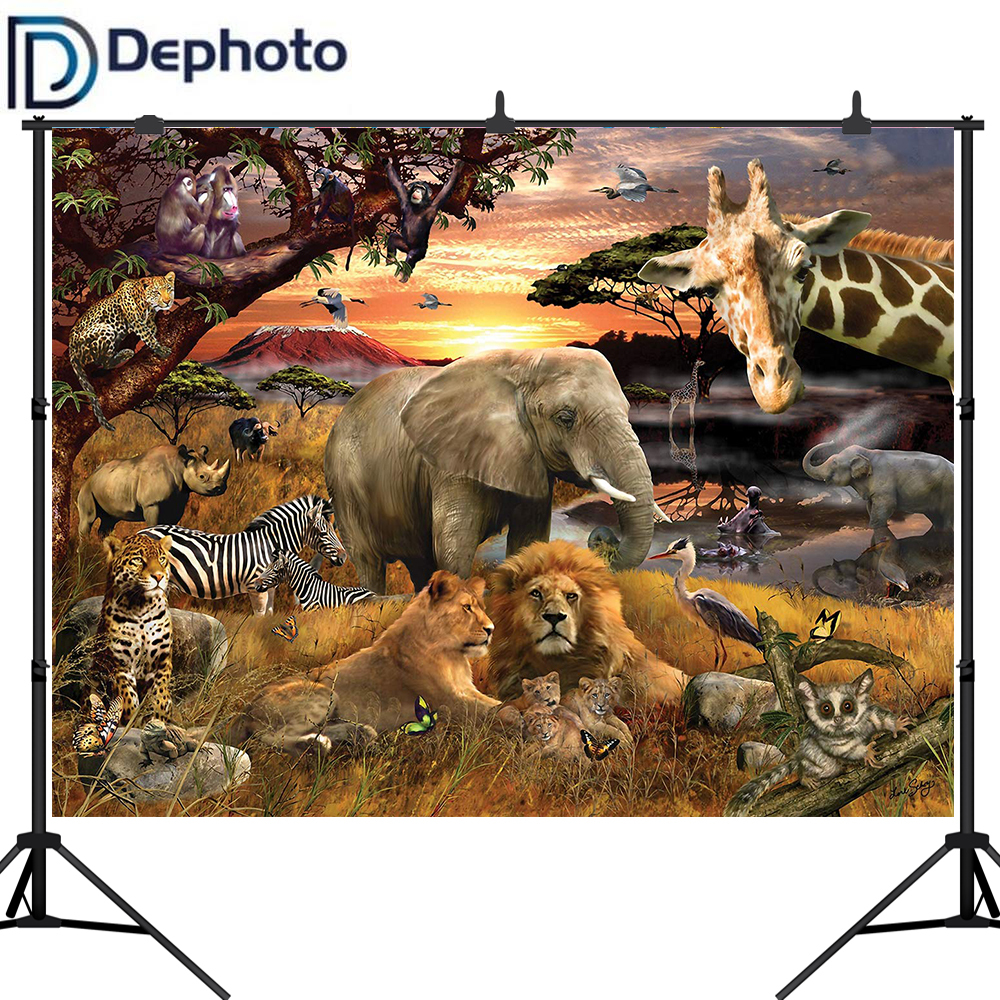 Dephoto Background for photo African Animals Elephant Lion Safari Photography Backdrop photocall photobooth shoot prop image