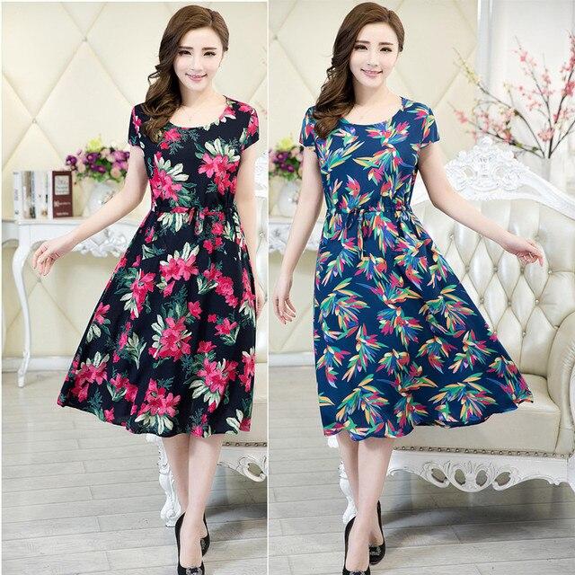2017 Женская одежда vestidos средней длины случайные dress коротким рукавом o-образным вырезом свободные платье плюс размер женщин летом стиль платья