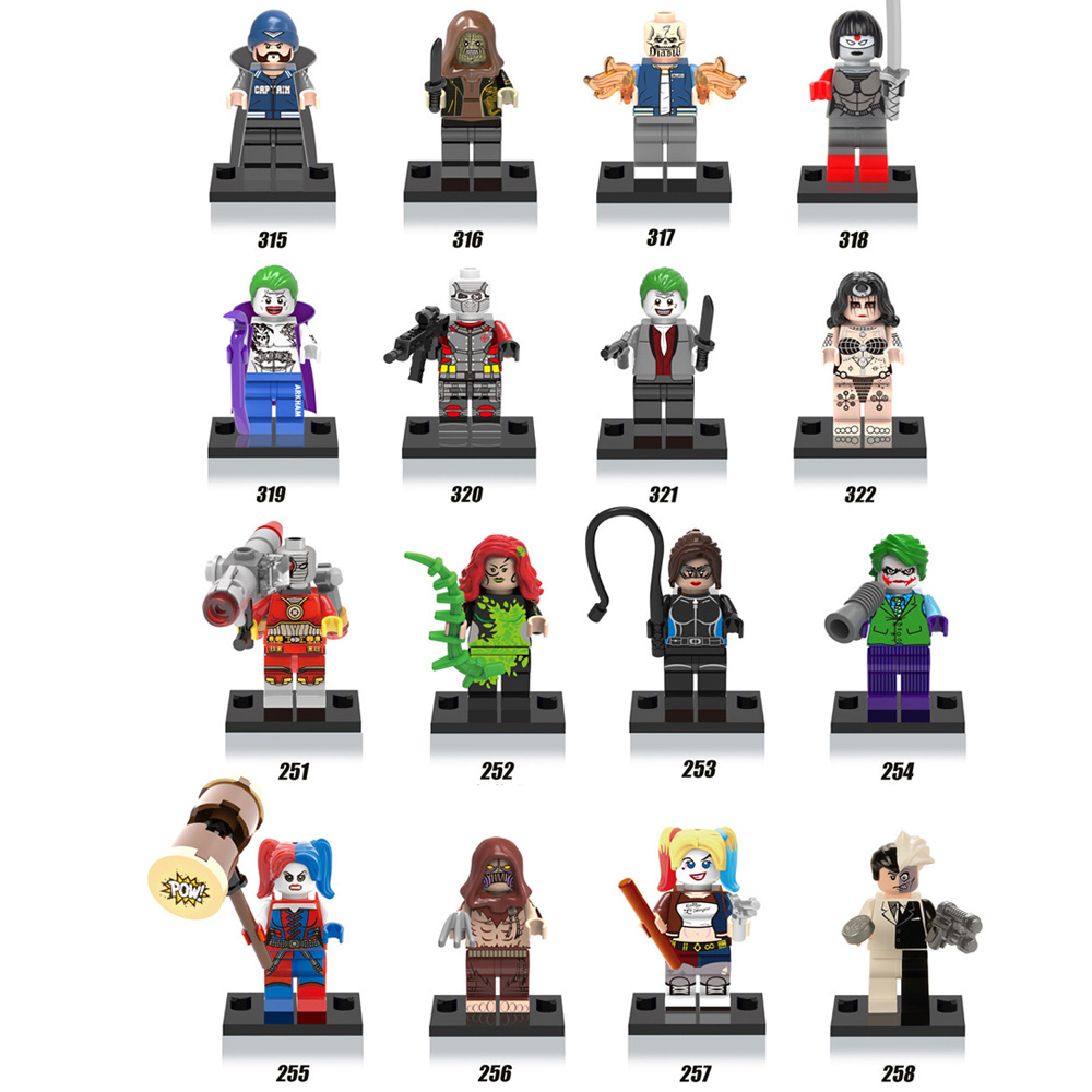 DC comics Villain super heroes movie Suicide Squad building block Joker Harley Quinn Deadshot Catwoman font