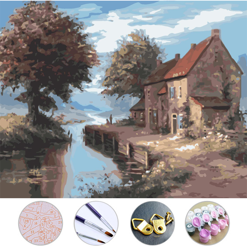 Diy Oil Painting Country House Frameless Picture On Wall