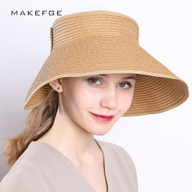 ab4464a0077a1 Brand 2018 New Spring Visors Cap Summer Hats for Women Fashion Design Women Beach  Sun Hat Foldable Brimmed Straw Hat wholesale