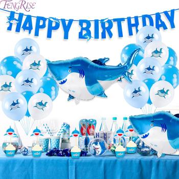 40PCS Shark Balloons Birthday Party Decoration Shark Theme Balloon set Happy Birthday Party Shark Foil Latex Baloons Babyshower