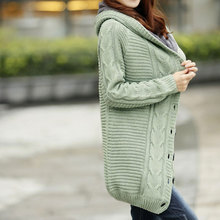 Winter Hooded Fleece Liner Cashmere Cardigan Knitted Sweater